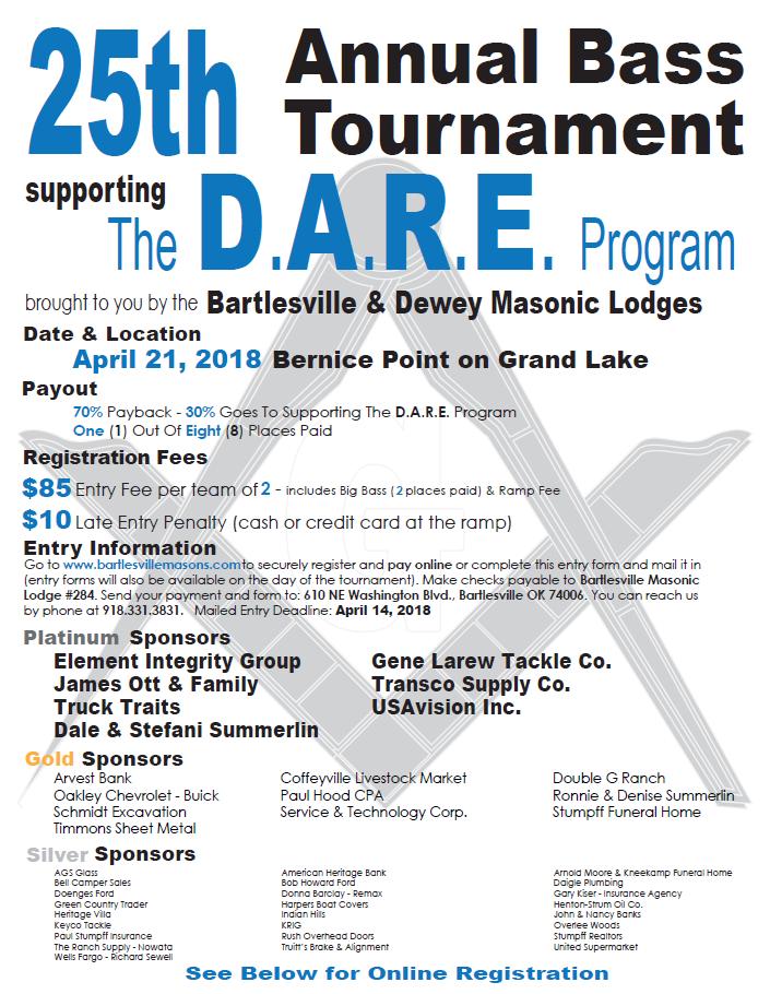 Bass Tournament Registration Bartlesville Masonic Lodge 284